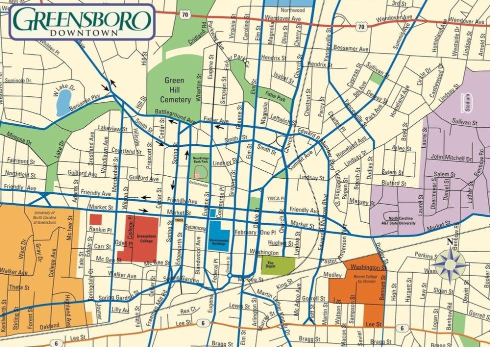 Map of Greensboro north carolina
